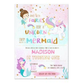 Mermaid unicorn fairies Invitations