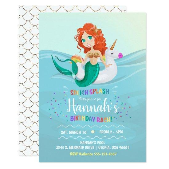 Mermaid Unicorn Pool Birthday Party Invitation