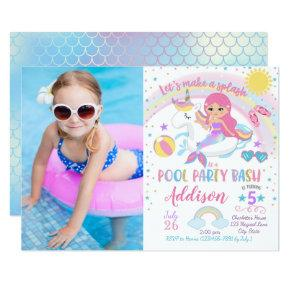Mermaid Unicorn Pool Party Birthday Invitations