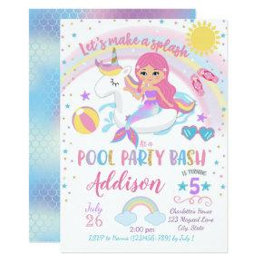 Mermaid Unicorn Pool Party Birthday Invitations