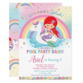 Mermaid Unicorn Pool Party Birthday Red Hair Girl Invitation