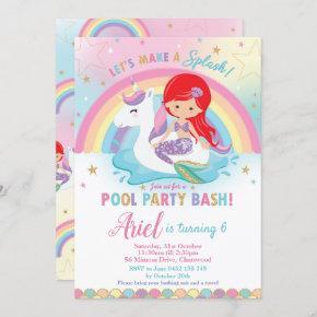 Mermaid Unicorn Pool Party Birthday Red Hair Girl Invitation