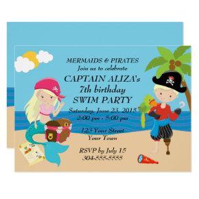 Mermaids and Pirates Birthday Party Invitation