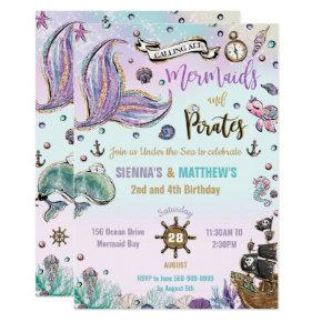 Mermaids and Pirates Joint Birthday Under the Sea Invitation