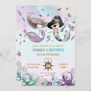 Mermaids and Pirates Twins Siblings Joint Birthday Invitation
