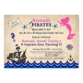Mermaids & Pirates Invitation, Siblings Invitation