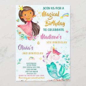 Mermicorn and Princess birthday invitation girls