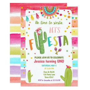 Mexican Cactus 1st First Fiesta Birthday Invitation