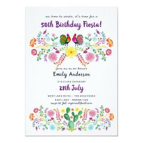 Mexican FIESTA 50th Birthday Invitations Folk Art