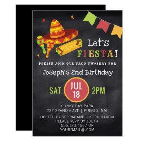 Mexican Fiesta Chalk Taco Twosday 2nd Birthday Invitation