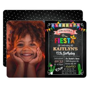 Mexican Fiesta Chalkboard Photo Birthday Invitation