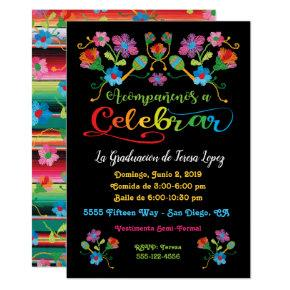 Mexican Fiesta Graduation Party with embroidery Invitation