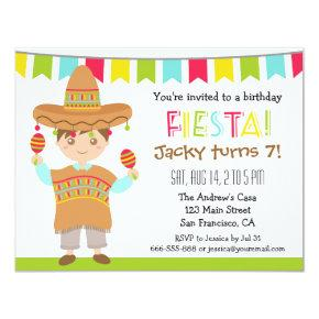 Mexican Fiesta Kids Birthday Party Invitations