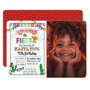 Mexican Fiesta Photo Any Age Birthday Invitation