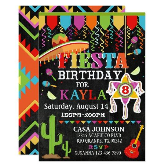 mexican fiesta pinata party bright colors birthday invitations