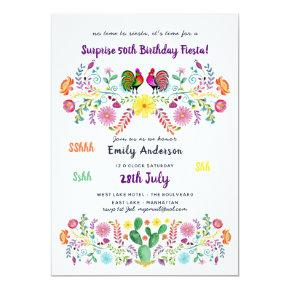 Mexican FIESTA SURPRISE Birthday Invitation Flower