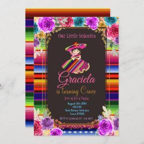 Mexican Flowers Fiesta Birthday Gold Girl  Invitation