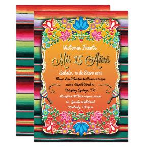 Mexican Mis 15 Anos Party Gold Glitter Invitations