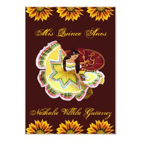 Mexican Quinceanera Invitation - Burgundy Nathalie