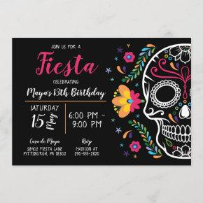Mexican Skull Fiesta Birthday Invitation