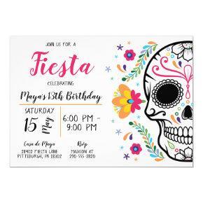 Mexican Skull Fiesta Birthday Invitation
