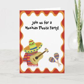 Mexican Theme Note  Party Birthday Invitation