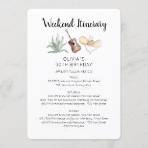 Mexico Weekend Birthday Itinerary Invitation