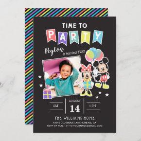 Mickey & Minnie | Time to Party - Photo Invitation