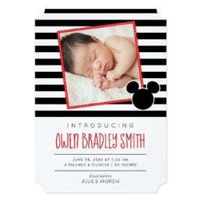 Mickey Mouse Black & Red Photo Birth Announcement