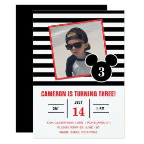 Mickey Mouse | Black & White Stripe Photo Birthday Invitations