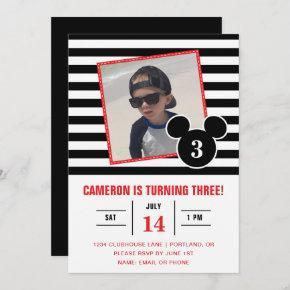 Mickey Mouse | Black & White Stripe Photo Birthday Invitation