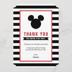 Mickey Mouse | Icon Black & White Stripe Thank You