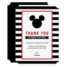 Mickey Mouse | Icon Black & White Stripe Thank You Card