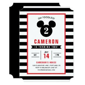 Mickey Mouse | Icon Black & White Striped Birthday Invitations