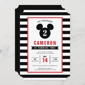Mickey Mouse | Icon Black & White Virtual Birthday Invitation