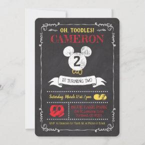 Mickey Mouse Icon Chalkboard 2nd Birthday Invitation
