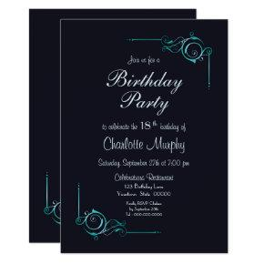 Midnight Blue & Turquoise 18th Birthday Party Invitations