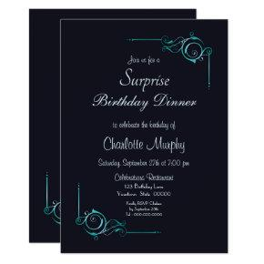 Midnight Blue & Turquoise Surprise Birthday Dinner Invitation