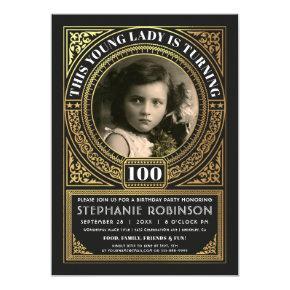 Milestone Birthday Invitations Photo Gold Foil