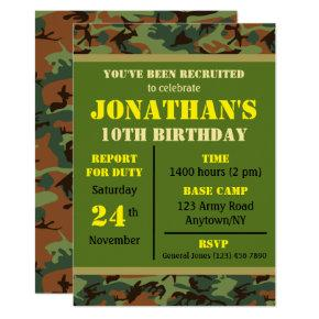 Military Any Age Birthday Invitation