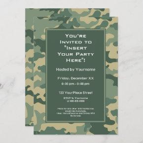 Military Camouflage Birthday Party Invitation