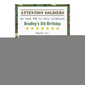 Military Camouflage Pattern Soldier Boy Birthday Invitations