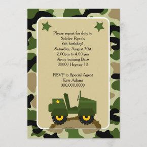 Military party invitation Camuflage Soldier