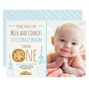 Milk and Cookies Party Invitations Boy Birthday