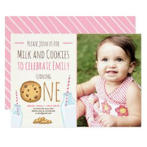 Milk and Cookies Party Invitations Girl Birthday