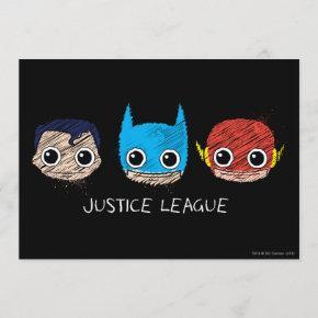Mini Justice League Heads Sketch Invitation