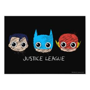 Mini Justice League Heads Sketch Invitation