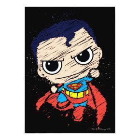 Mini Superman Sketch - Flying Invitations