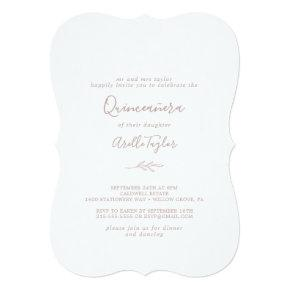Minimal Leaf | Dusty Rose Quinceañera Invitation