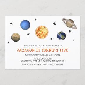 Minimalist Modern Out of this World Space Birthday Invitation